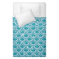 Scales2 White Marble & Turquoise Glitter Duvet Cover Double Side (single Size) by trendistuff