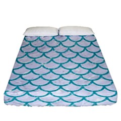 Scales1 White Marble & Turquoise Glitter (r) Fitted Sheet (queen Size) by trendistuff