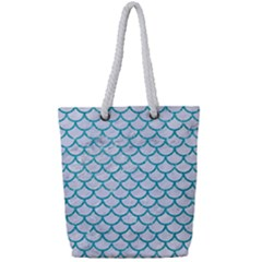 Scales1 White Marble & Turquoise Glitter (r) Full Print Rope Handle Tote (small)