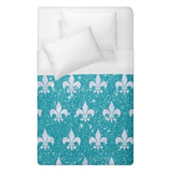 Royal1 White Marble & Turquoise Glitter (r) Duvet Cover (single Size) by trendistuff