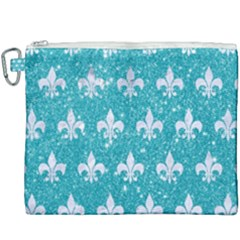 Royal1 White Marble & Turquoise Glitter (r) Canvas Cosmetic Bag (xxxl) by trendistuff