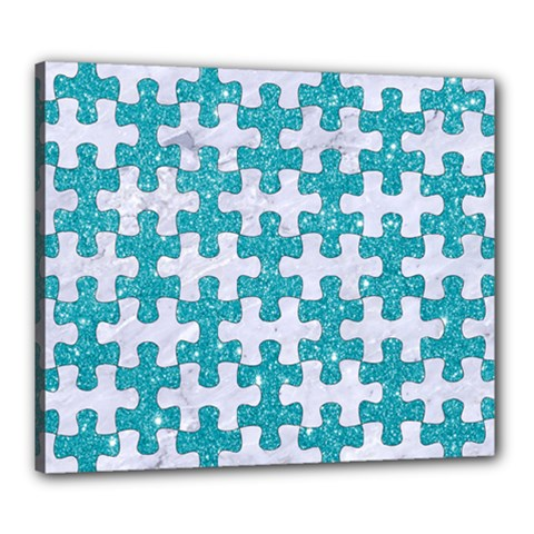 Puzzle1 White Marble & Turquoise Glitter Canvas 24  X 20  by trendistuff