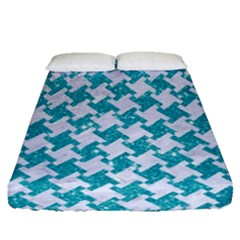 Houndstooth2 White Marble & Turquoise Glitter Fitted Sheet (queen Size) by trendistuff