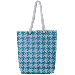 Houndstooth1 White Marble & Turquoise Glitter Full Print Rope Handle Tote (small) by trendistuff