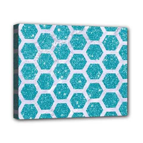 Hexagon2 White Marble & Turquoise Glitter Canvas 10  X 8  by trendistuff