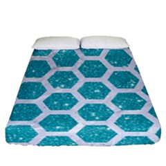 Hexagon2 White Marble & Turquoise Glitter Fitted Sheet (queen Size) by trendistuff