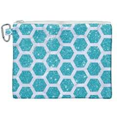 Hexagon2 White Marble & Turquoise Glitter Canvas Cosmetic Bag (xxl) by trendistuff
