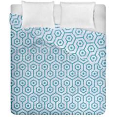 Hexagon1 White Marble & Turquoise Glitter (r) Duvet Cover Double Side (california King Size) by trendistuff