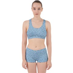 Hexagon1 White Marble & Turquoise Glitter (r) Work It Out Sports Bra Set