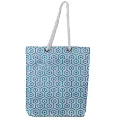 Hexagon1 White Marble & Turquoise Glitter (r) Full Print Rope Handle Tote (large) by trendistuff