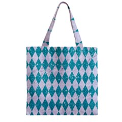 Diamond1 White Marble & Turquoise Glitter Zipper Grocery Tote Bag