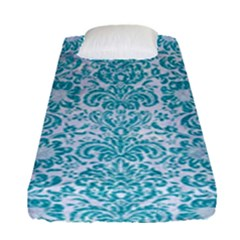 Damask2 White Marble & Turquoise Glitter (r) Fitted Sheet (single Size) by trendistuff