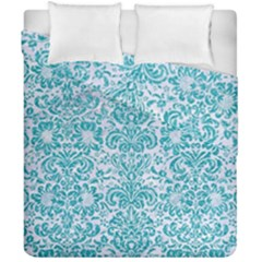Damask2 White Marble & Turquoise Glitter (r) Duvet Cover Double Side (california King Size) by trendistuff
