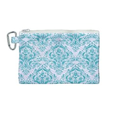 Damask1 White Marble & Turquoise Glitter (r) Canvas Cosmetic Bag (medium) by trendistuff