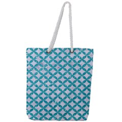 Circles3 White Marble & Turquoise Glitter (r) Full Print Rope Handle Tote (large)