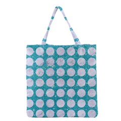 Circles1 White Marble & Turquoise Glitter Grocery Tote Bag by trendistuff
