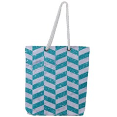 Chevron1 White Marble & Turquoise Glitter Full Print Rope Handle Tote (large) by trendistuff