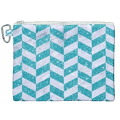 Chevron1 White Marble & Turquoise Glitter Canvas Cosmetic Bag (xxl) by trendistuff