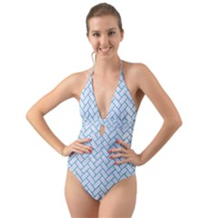 Brick2 White Marble & Turquoise Glitter (r) Halter Cut Out One Piece Swimsuit by trendistuff