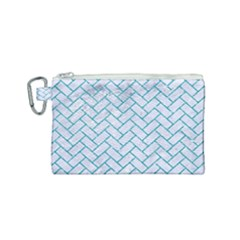 Brick2 White Marble & Turquoise Glitter (r) Canvas Cosmetic Bag (small) by trendistuff