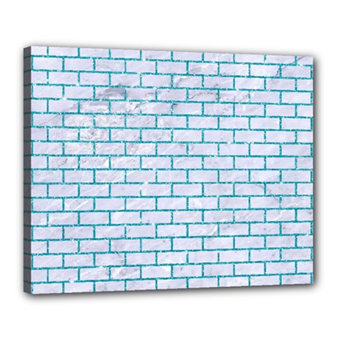 Brick1 White Marble & Turquoise Glitter (r) Canvas 20  X 16
