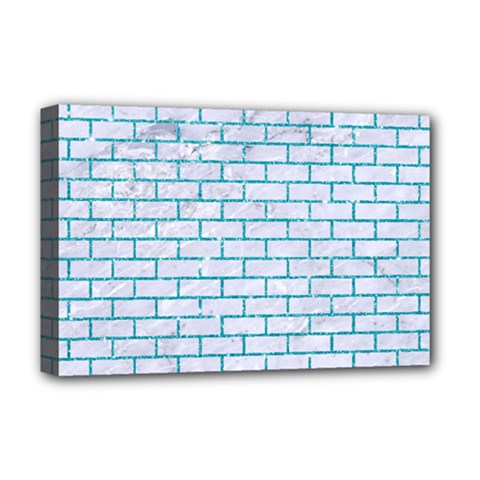 Brick1 White Marble & Turquoise Glitter (r) Deluxe Canvas 18  X 12   by trendistuff