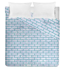 Brick1 White Marble & Turquoise Glitter (r) Duvet Cover Double Side (queen Size) by trendistuff