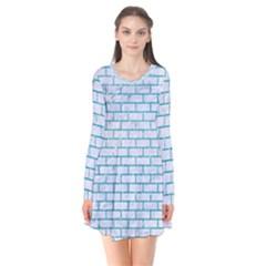 Brick1 White Marble & Turquoise Glitter (r) Flare Dress