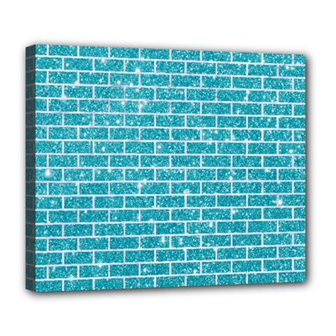 Brick1 White Marble & Turquoise Glitter Deluxe Canvas 24  X 20   by trendistuff