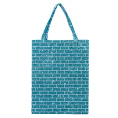 Brick1 White Marble & Turquoise Glitter Classic Tote Bag by trendistuff