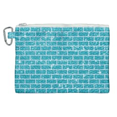 Brick1 White Marble & Turquoise Glitter Canvas Cosmetic Bag (xl) by trendistuff