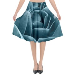 Beautiful Blue Roses With Water Drops Flared Midi Skirt by FantasyWorld7