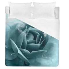 Beautiful Blue Roses With Water Drops Duvet Cover (queen Size) by FantasyWorld7