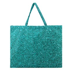 Aqua Glitter Zipper Large Tote Bag by snowwhitegirl