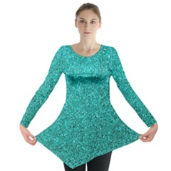 Aqua Glitter Long Sleeve Tunic  by snowwhitegirl