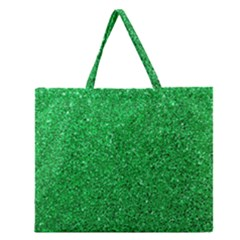Green Glitter Zipper Large Tote Bag by snowwhitegirl