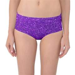 Purple  Glitter Mid Waist Bikini Bottoms