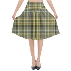 Yellow Plaid Flared Midi Skirt by snowwhitegirl