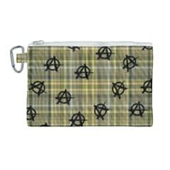 Yellow Plaid Anarchy Canvas Cosmetic Bag (large) by snowwhitegirl