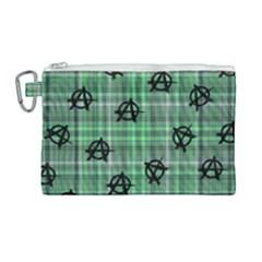 Green  Plaid Anarchy Canvas Cosmetic Bag (large) by snowwhitegirl