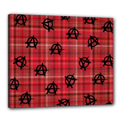 Red Plaid Anarchy Canvas 24  X 20  by snowwhitegirl