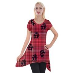 Red Plaid Anarchy Short Sleeve Side Drop Tunic by snowwhitegirl
