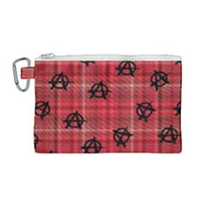 Red Plaid Anarchy Canvas Cosmetic Bag (medium) by snowwhitegirl