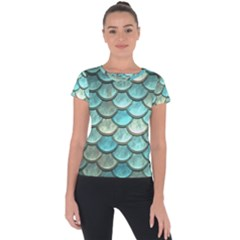 Aqua Mermaid Scale Short Sleeve Sports Top  by snowwhitegirl