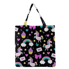 Cute Unicorn Pattern Grocery Tote Bag by Valentinaart