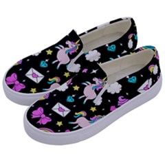 Cute Unicorn Pattern Kids  Canvas Slip Ons by Valentinaart