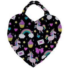 Cute Unicorn Pattern Giant Heart Shaped Tote by Valentinaart