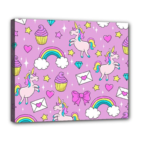 Cute Unicorn Pattern Deluxe Canvas 24  X 20   by Valentinaart