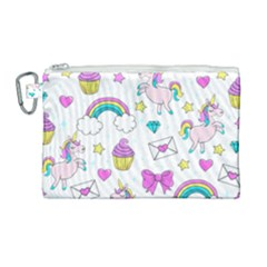 Cute Unicorn Pattern Canvas Cosmetic Bag (large) by Valentinaart