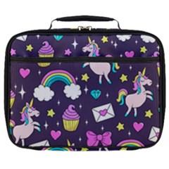 Cute Unicorn Pattern Full Print Lunch Bag by Valentinaart